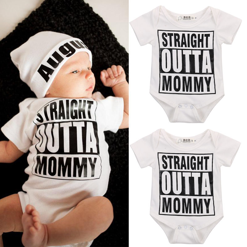 'Straight OUTTA Mommy' Baby Romper