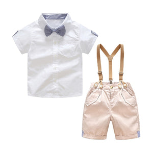 'Elliott' Sunday Short Sleeve Suspender Bowtie Set
