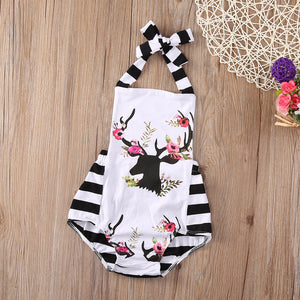 Toddler Baby Girl Striped Fashion Floral Reindeer Patchwork Playsuit
