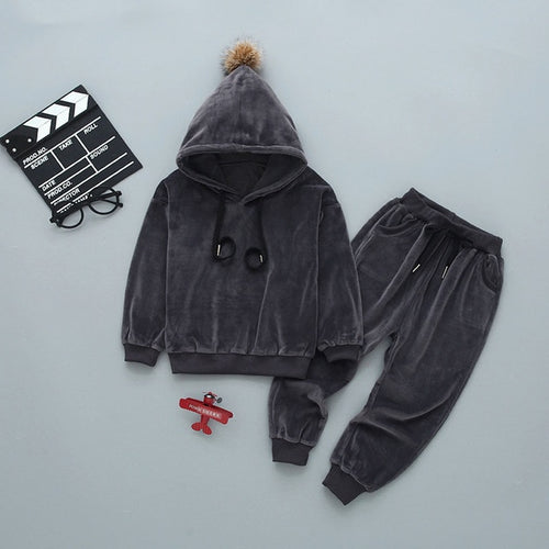 Velvet hoodie set for winter