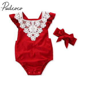 "Newborn Baby Girl Romper ""Red Jumpsuits"""
