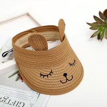 Load image into Gallery viewer, MAERSHEI summer children's cat empty top straw hat Korean casual shade sunscreen beach sun hat