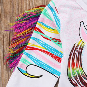 Toddler Baby Boys/Girls Unicorn Tassel Shirt