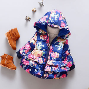 Floral winter jacket for baby girl