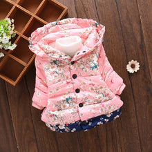 Load image into Gallery viewer, Floral winter jacket for baby girl