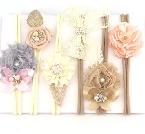 Ribbon Lace Flower Headband Set