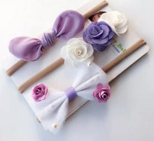 Load image into Gallery viewer, Ribbon Lace Flower Headband Set