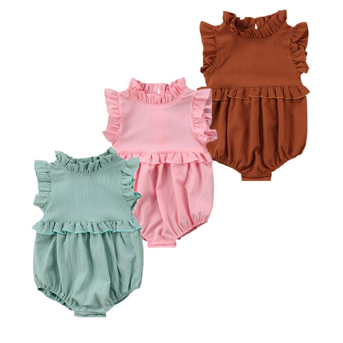 Newborn Baby Girls Ruffled Romper