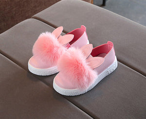 Baby girls rabbit ear pompom shoes