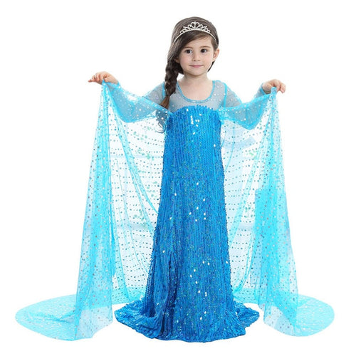 Long Sleeve Sequin Snow Queen Christmas Baby Dress