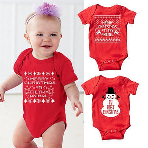 Newborn Baby First Merry Christmas Romper