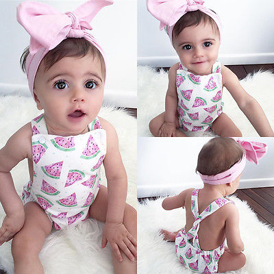 'Watermelon' Baby Girl Romper W/ Headband
