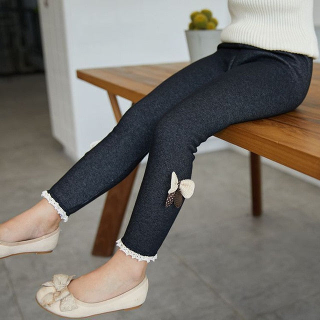 Classic Bow Decor Warmer Leggings Winter Outfits