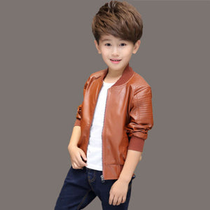 New arrival Baby boy trendy Leather jacket