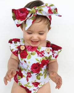 'Christmas' Cute Floral Baby Romper + Floral Headband set