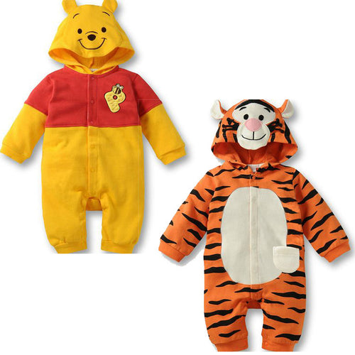 Newborn Baby Long Tiger Hooded Jumpsuit
