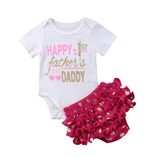 Fathers Day Baby Girls Summer Outfits