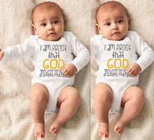 "Load image into Gallery viewer, ""God Answers Prayer"" Long Sleeve Baby Onesie"