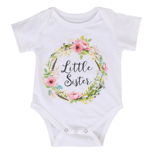 Little Sister / Big Sister - Floral Crown Matching Shirt & Onesie Combo