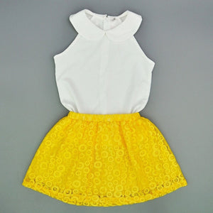 Summer Style Lady Chic Sleeveless Top- Lace Skirt 2-Piece Set