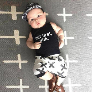 'But First, MILK' Baby Shirt and Short 2-Pc Set