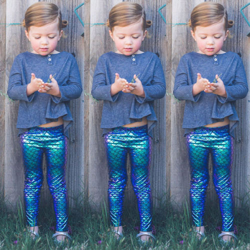 Sparkling Mermaid Pattern Pencil Sequined Leggings