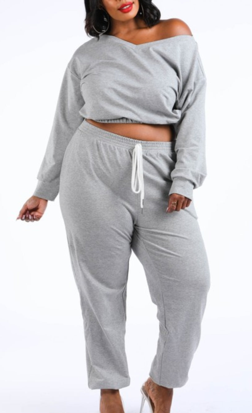 Shoulder Lean Plus Size Jogger Set