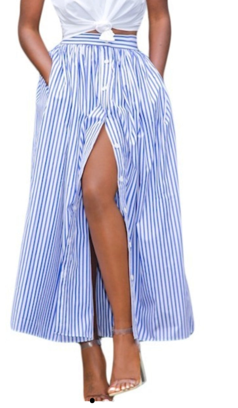 Pinstripes Button Down Skirt