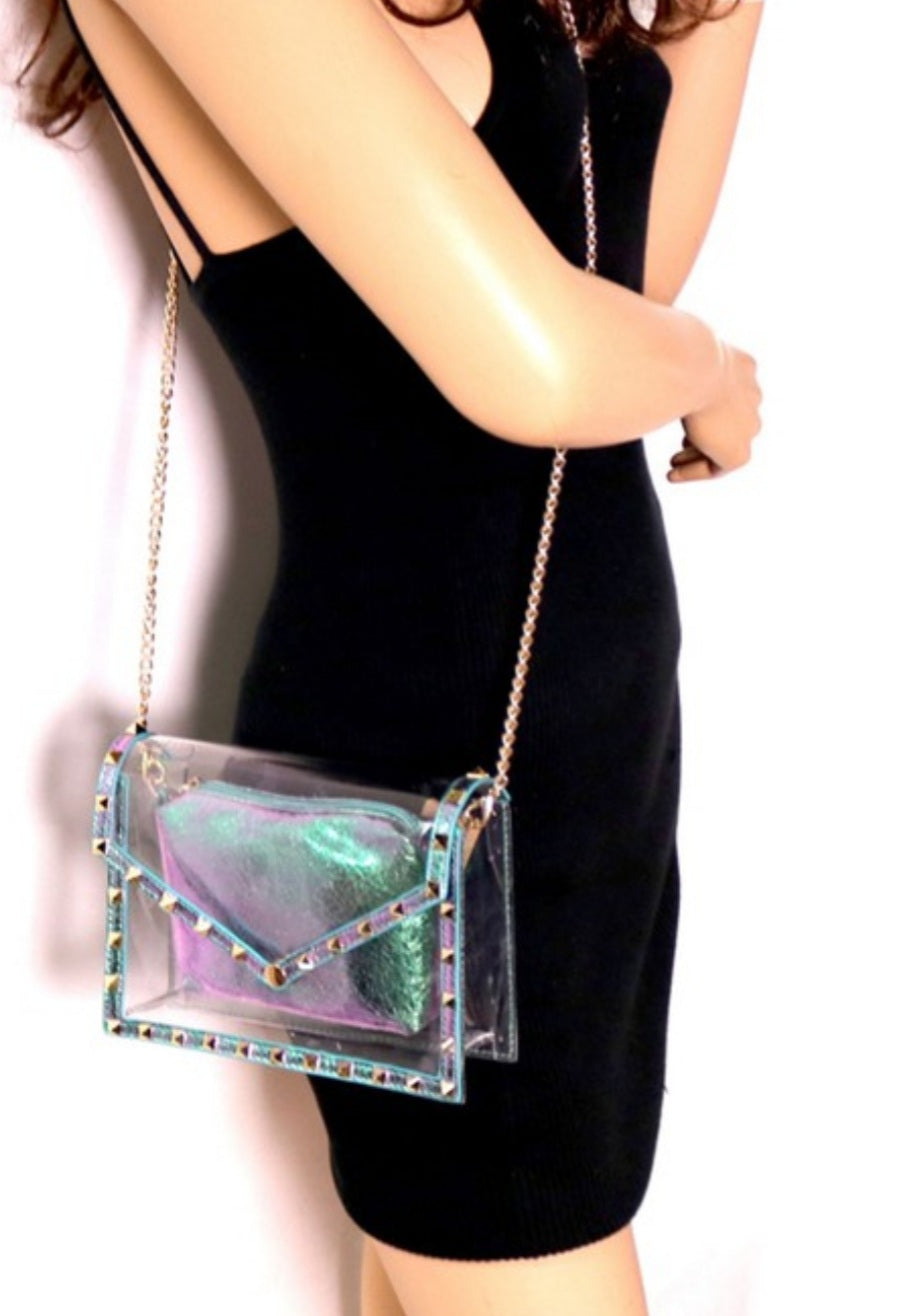 Pyramids Metallic Shoulder Bag