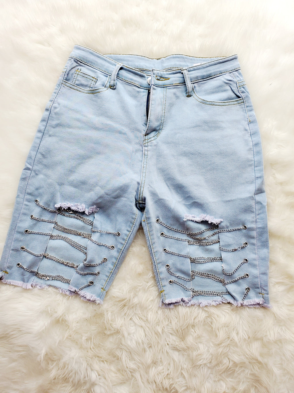 Chain Me Up Denim Shorts