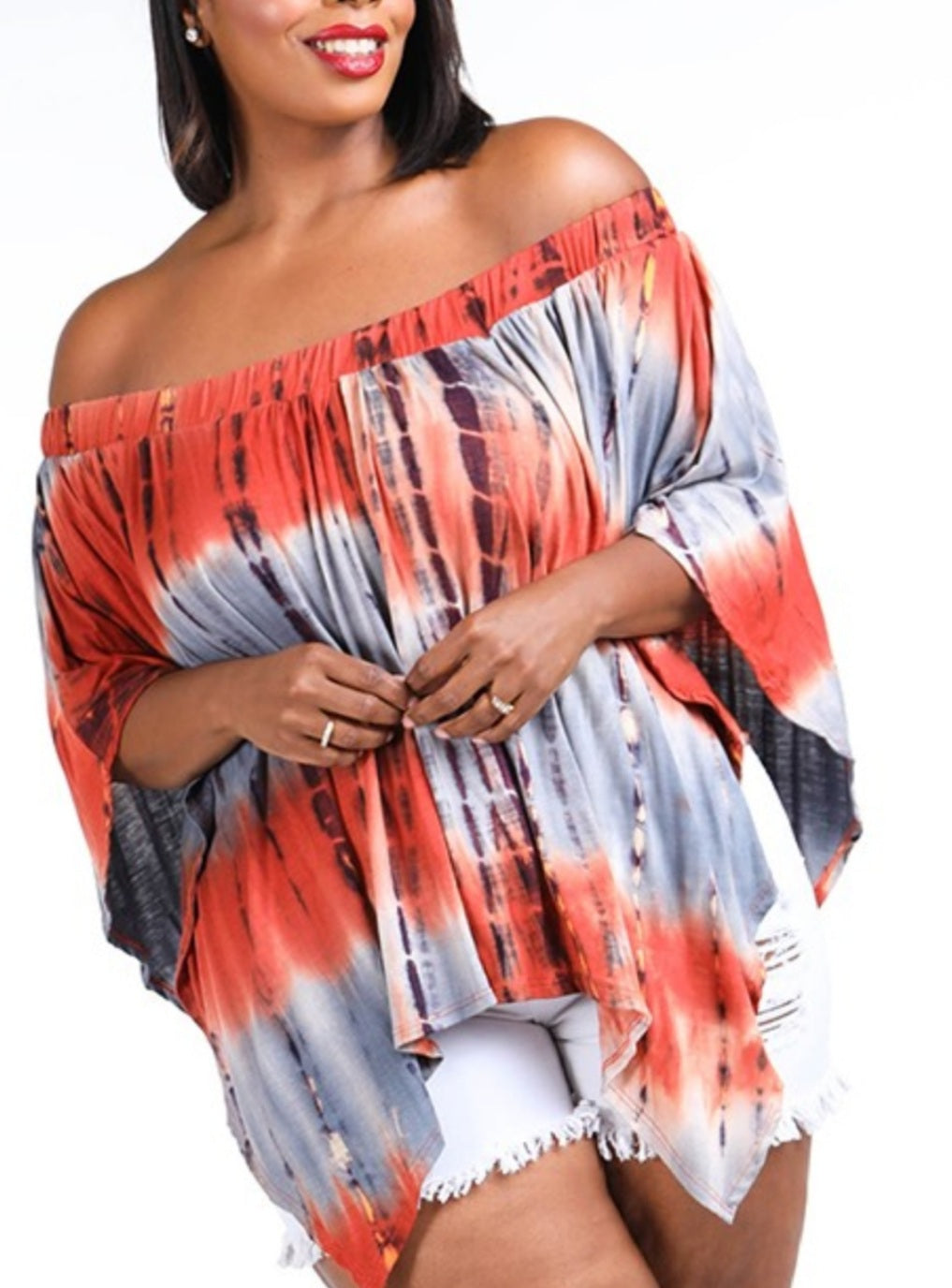 Layered Off the Shoulders Plus Size Top