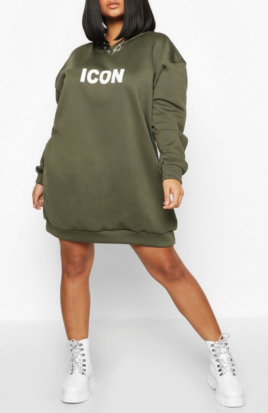 Fashion Icon Plus Size Hooded Sweater Dress
