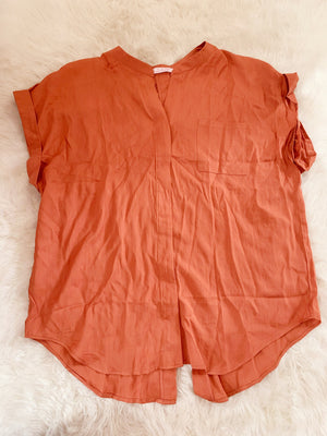 Pumpkin Spice Plus Size Button Up Shirt