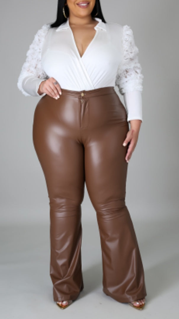 Caramel Macchiato Faux Leather Pants