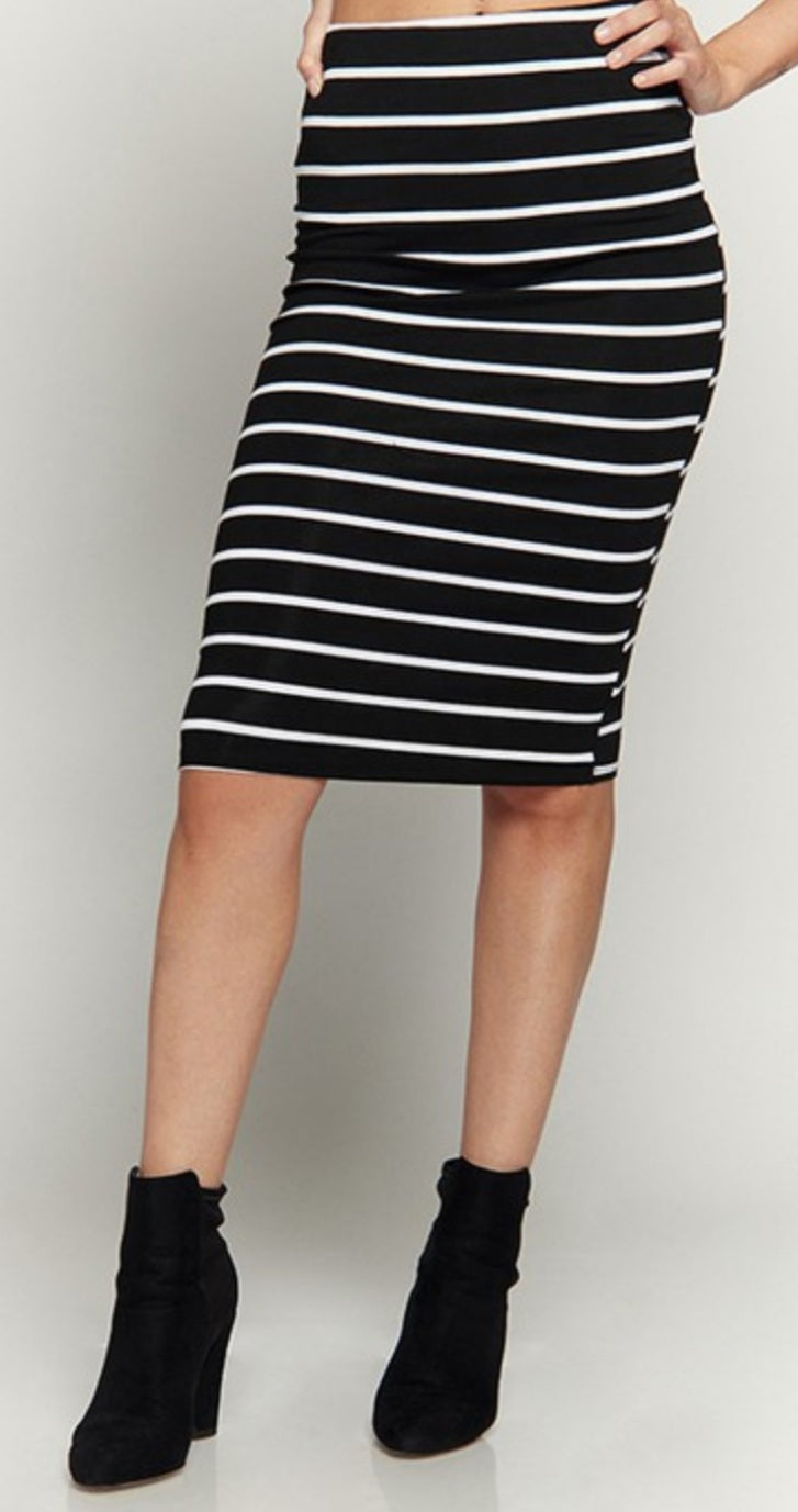Pinstripes Fitted Skirt