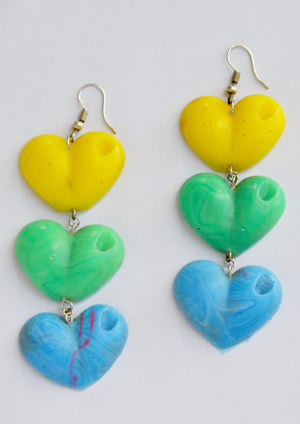 Yellow, Green and Blue Drop Your Lover Drop Love Heart Earrings