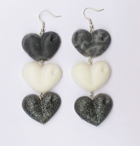 Grey, White and Glitter Drop Love Hearts