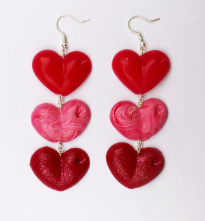 Red, Pink and Glitter Drop Love Hearts