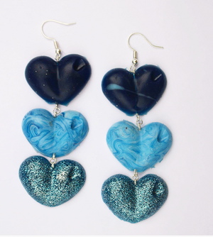 Navy, Light Blue and Glitter Drop Love Hearts