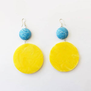 Light Marble Blue and Yellow Saucers