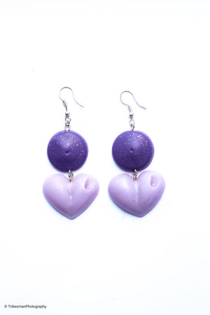 Purple Side Saucer and Purple Drop Your Lover Drop Love Hearts