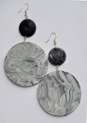 Black and Grey Marble Saucers
