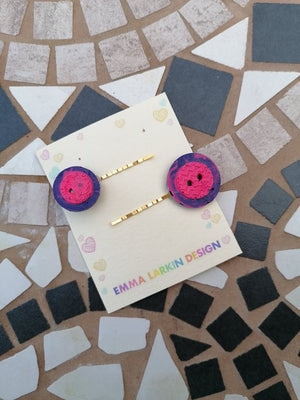 Pink & Purple Button Clips