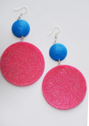 Blue and Glitter Pink Saucers