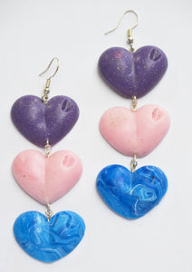 Purple, Pink and Marble Blue Drop Your Lover Love Heart Earrings