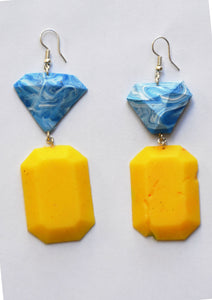 Light Marble Blue and Yellow Fake Fancys
