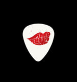 White .73mm pick with red metallic foil