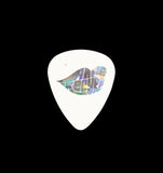 White .60mm pick with holographic foil