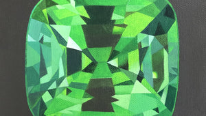Tsavorite gemstone original acrylic on canvas by artist Amanda Gosse