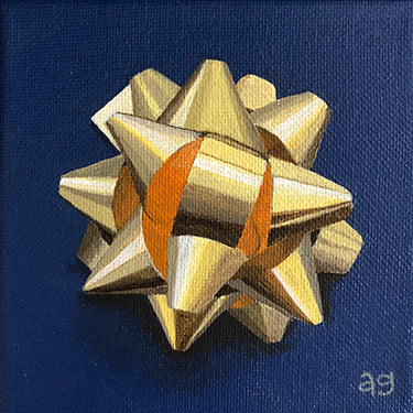 Gift Bow Gold Original Acrylic Painting by Amanda Gosse
